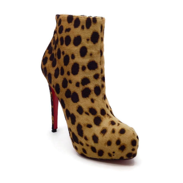 Christian Louboutin Tan / Brown Leopard Print Calf Hair Boots