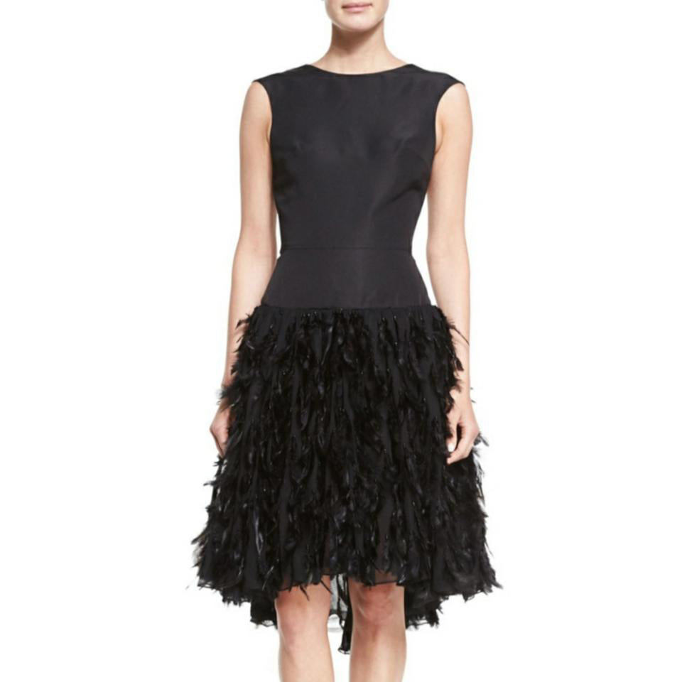 Christian Siriano Black Feather Dress