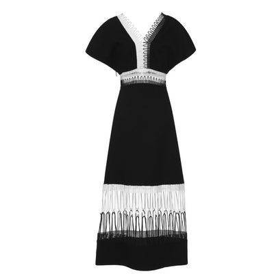 Christopher Kane Black /White Loop Trim V-neck Midi Dress