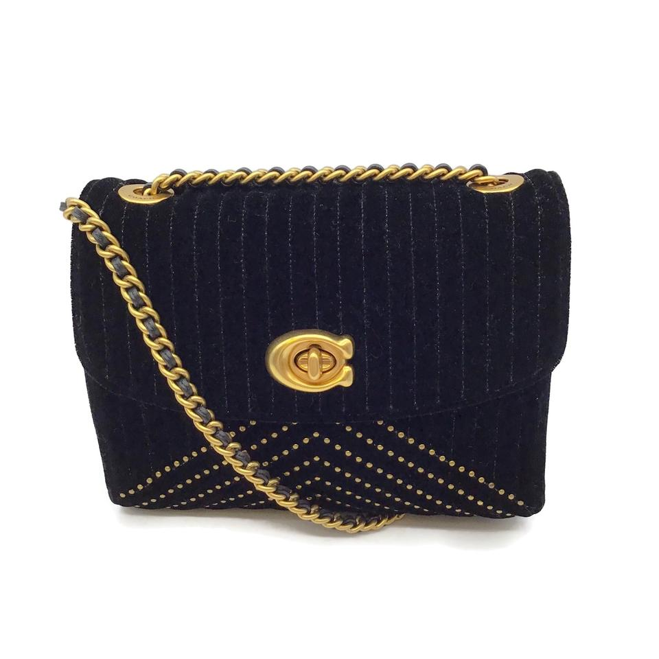 Coach Quilted Black Velvet Cross-Body Bag