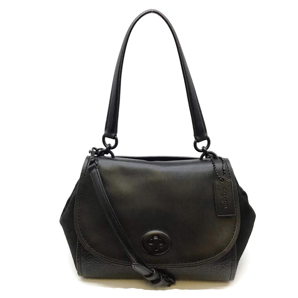 Coach Textured Black Leather/Suede Shoulder Bag