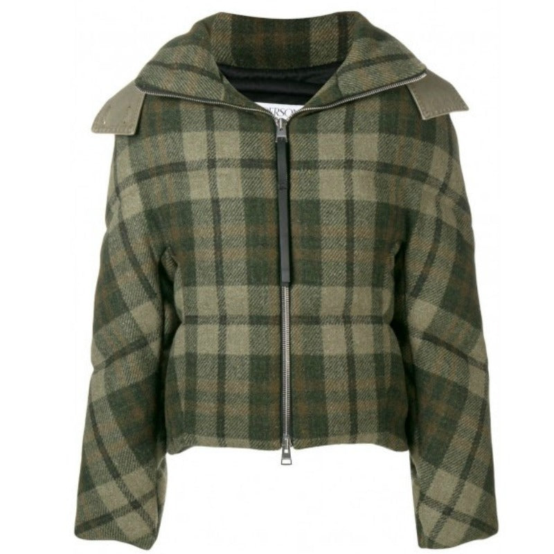 J.W.Anderson Green Plaid Wool Puffer Coat