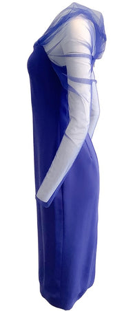Cushnie Indigo Fitted Pencil with Off-shoulder Formal Dress