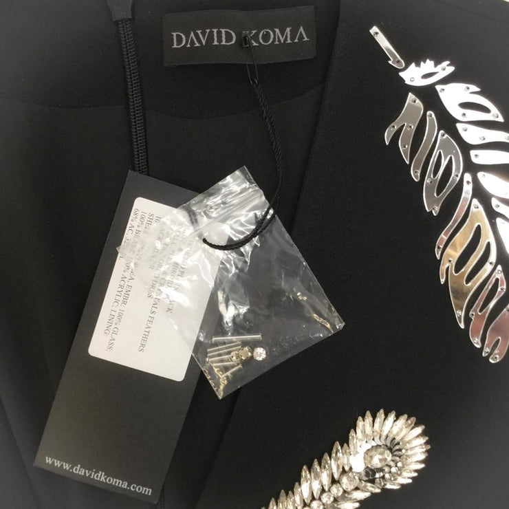 David Koma Black Crystal Feather Dress