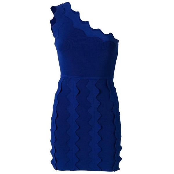 David Koma Cobalt Blue One Shoulder Dress