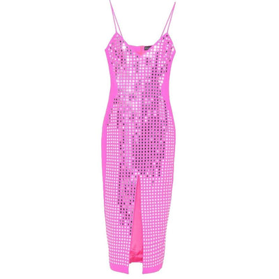 David Koma Hot Pink Mirrored Crepe Dress
