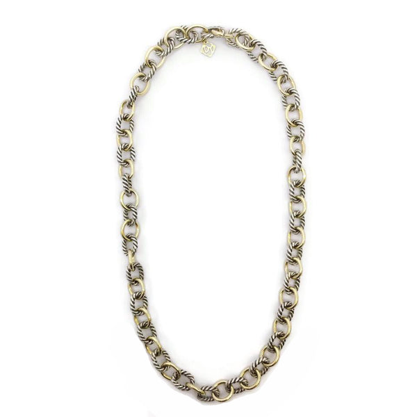 David Yurman Gold / Silver Oval Necklace