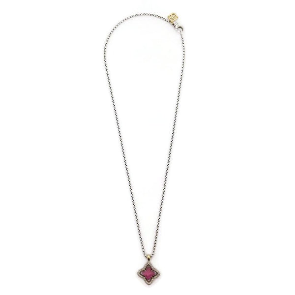 David Yurman Pink Sterling Silver Quatrefoil Necklace