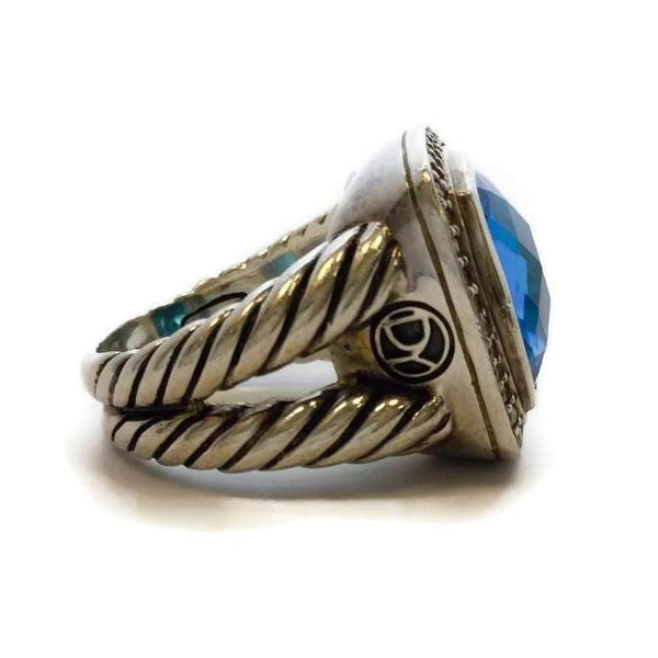 David Yurman Sterling Silver Diamond Framed Blue Topaz Ring