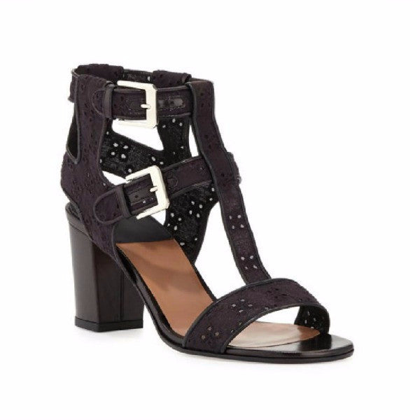 Diane Embroidery Black Sandals by Laurence Dacade