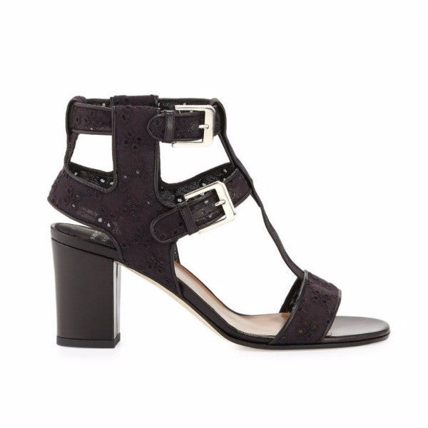 Diane Embroidery Black Sandals by Laurence Dacade side
