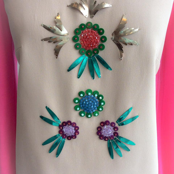 Embellished Top Tan / Pink by Delpozo
