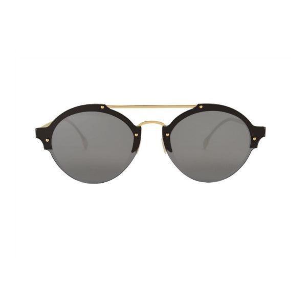 Illesteva Malpensa Sunglasses Black and Gold with Gray Lenses