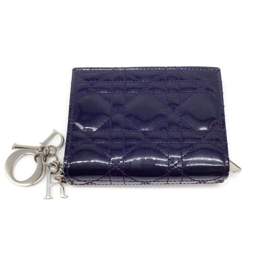 Dior Aubergine Quilted Patent Wallet