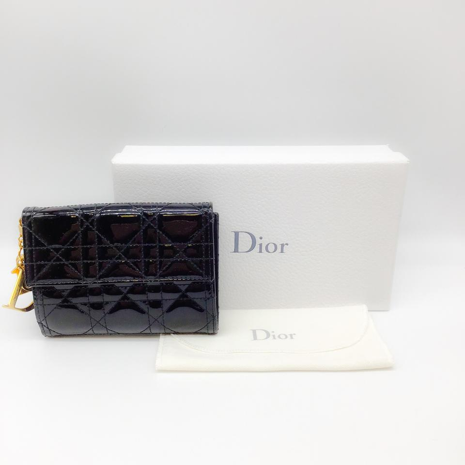 Dior Black Quilted Patent Wallet