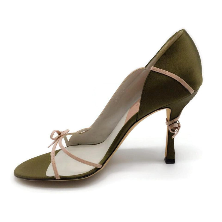 Dior Olive / Blush Bow Detail Pumps
