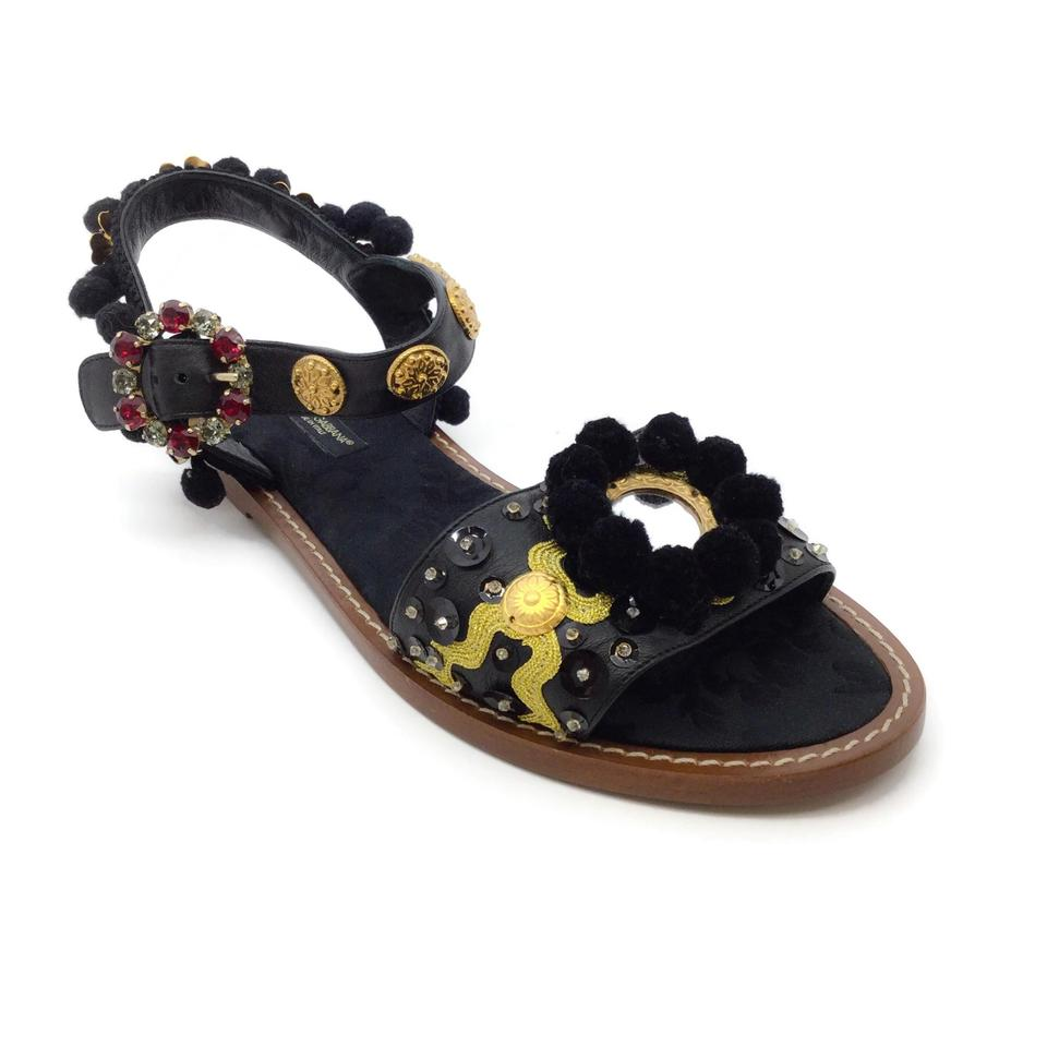 Dolce&Gabbana Black / Gold Mirror Sandals