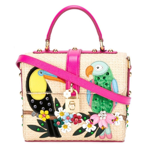 Dolce&Gabbana Dolce Tan /Green/Hot Pink Multi Raffia Cross Body Bag