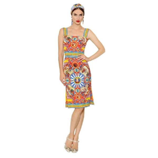 Dolce&Gabbana Multicolor Carretto Printed Silk Charmeuse Mid-length Cocktail Dress