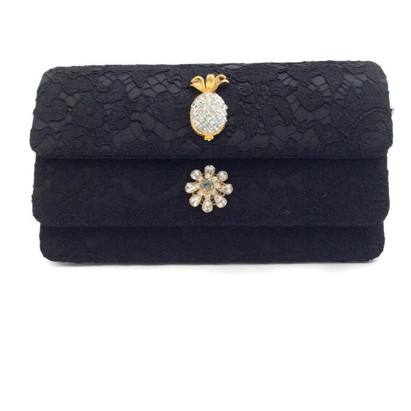Dolce&Gabbana Lace Black Satin Shoulder Bag