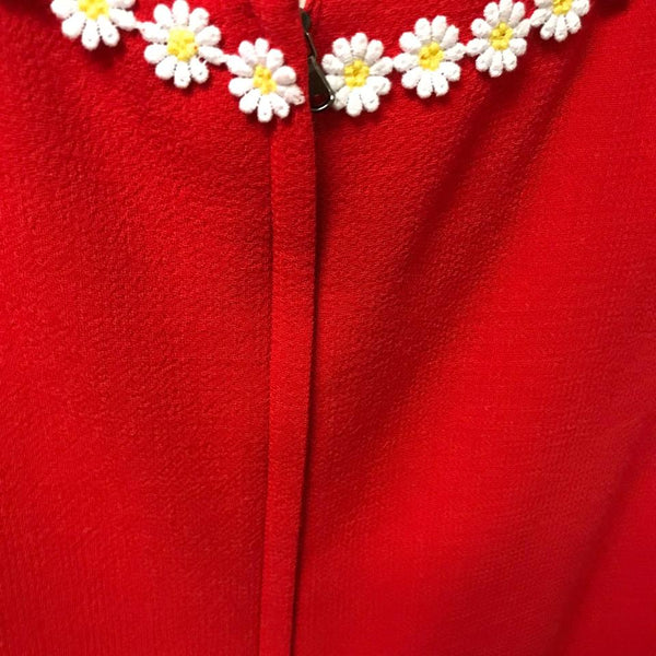 Dolce&Gabbana Red Daisy Appliqué Dress