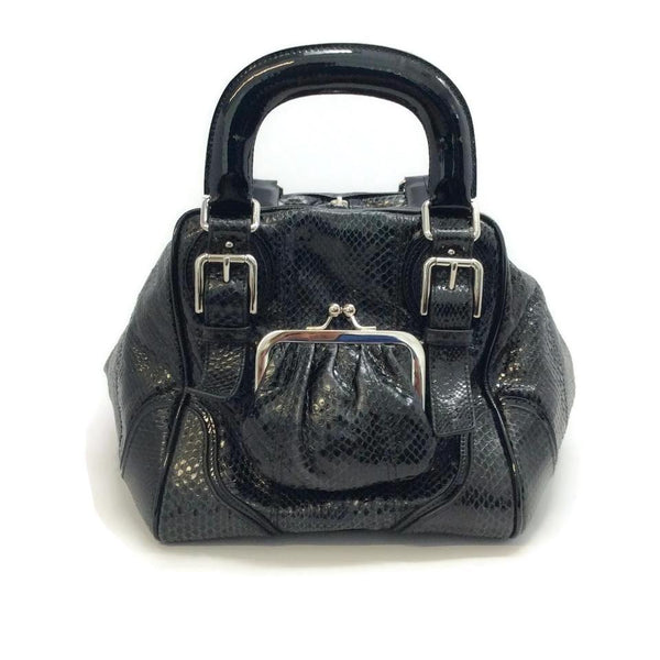 Dolce&Gabbana Black Snakeskin Leather Miss Romantique Satchel, front