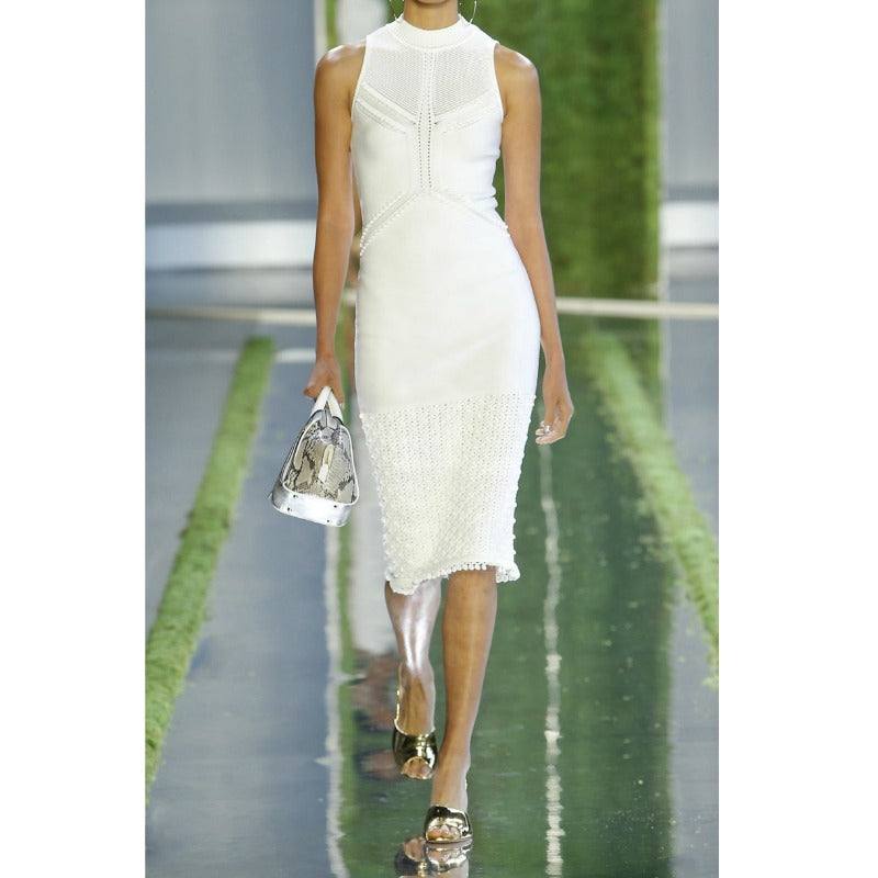 Cushnie et Ochs White Pointelle Knit with Pompom Dress