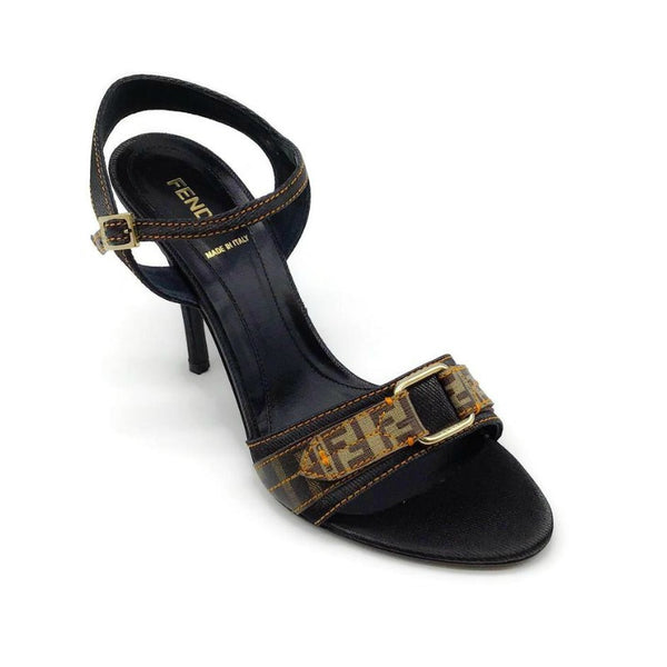 Fendi Black Monogram Strap Sandals