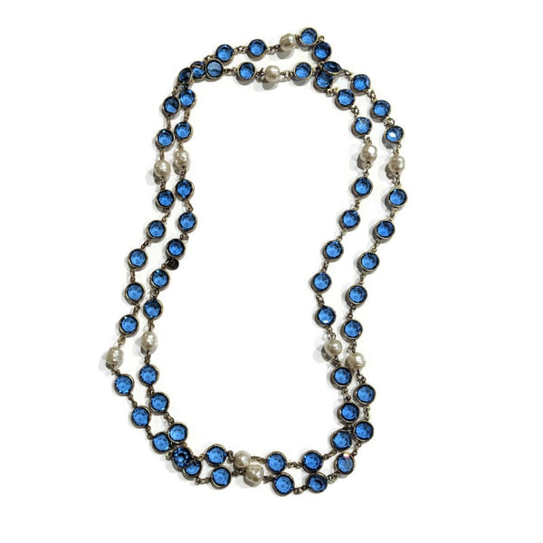 Chanel Blue Vintage 1981 Crystal and Pearl Necklace