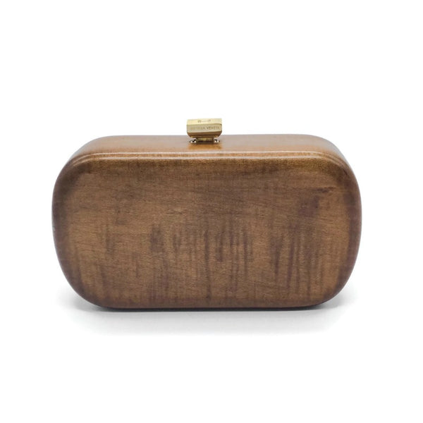 Bottega Veneta Brown Wood Minaudiere Clutch