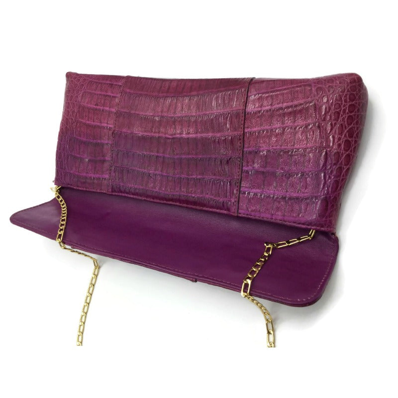 Carlos Falchi Fold Over Pink Crocodile Skin Leather Clutch