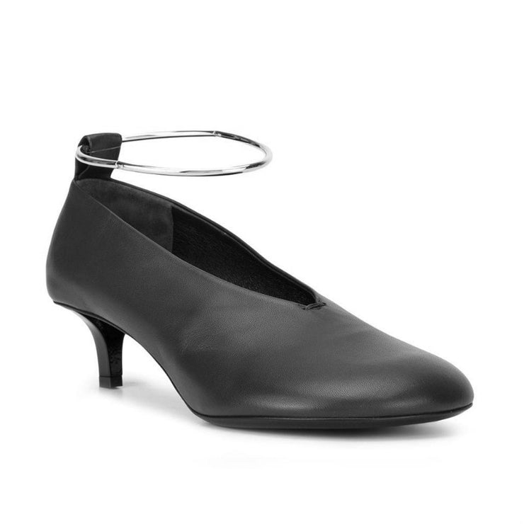 Jil Sander Black Metal Ankle Strap Pumps
