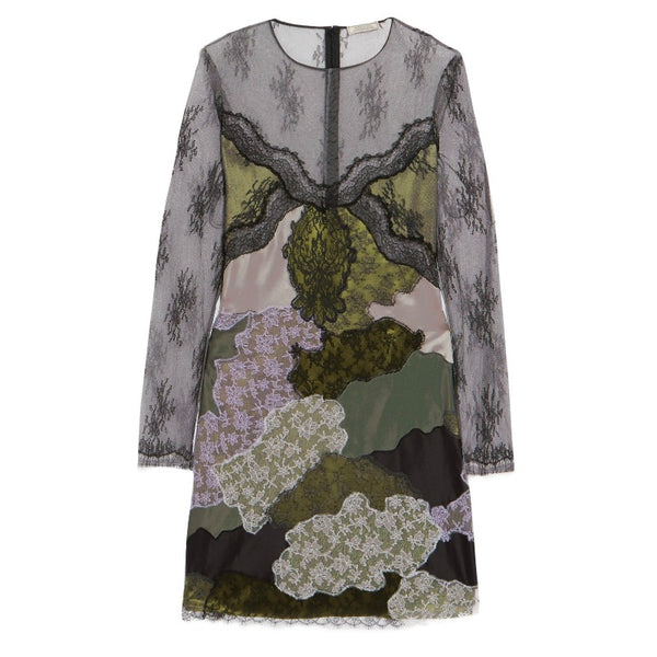 Nina Ricci Gray Satin Paneled Embroidered Lace Dress