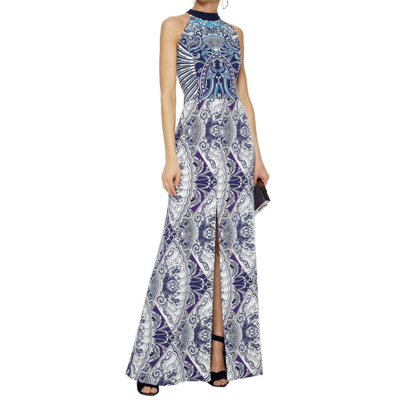MARY KATRANTZOU Navy Solitaire Tie Back Dress