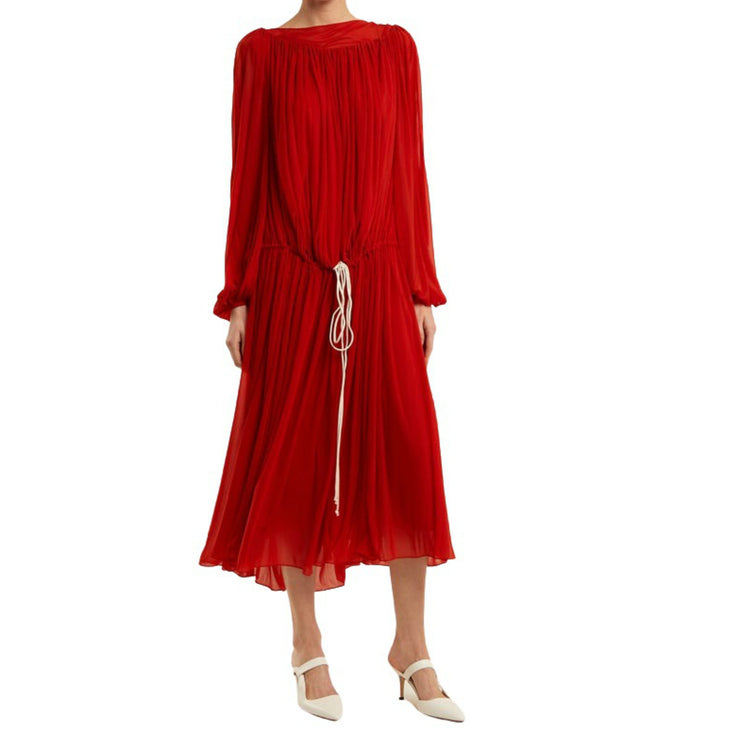 BY. Bonnie Young Red Ballon Sleeved Chiffon Maxi Dress