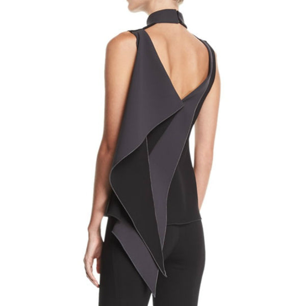 Cushnie et Ochs Carlotta Draped Black / Charcoal Top