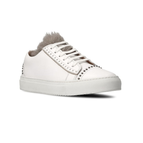 Eleventy White Fur Tongue Studded Sneakers