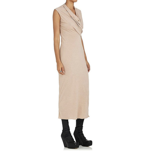 Rick Owens Petal Draped Jersey Midi Lilies Dress