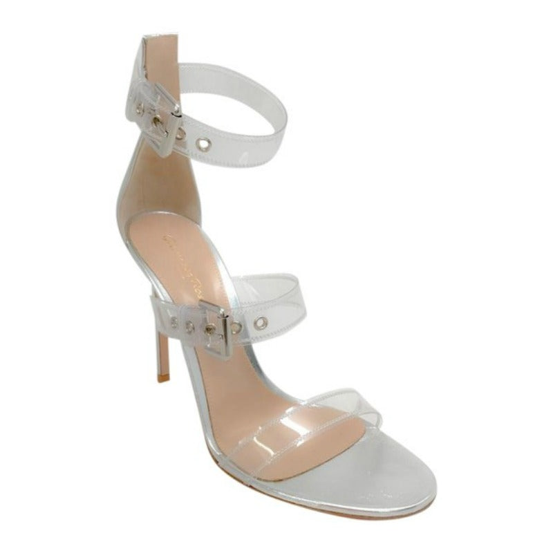 Gianvito Rossi Silver/Clear Gabby Sandals