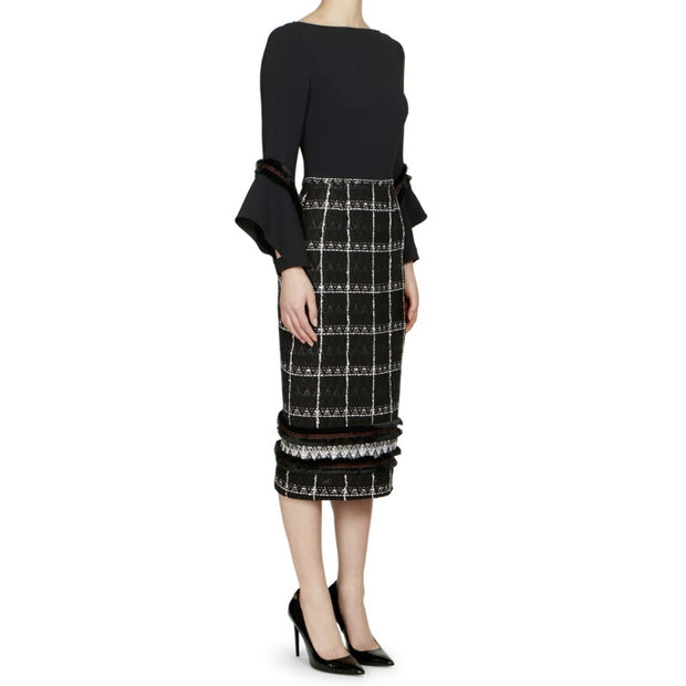 Roland Mouret Black / White Elvey Check Diamond Weave Dress