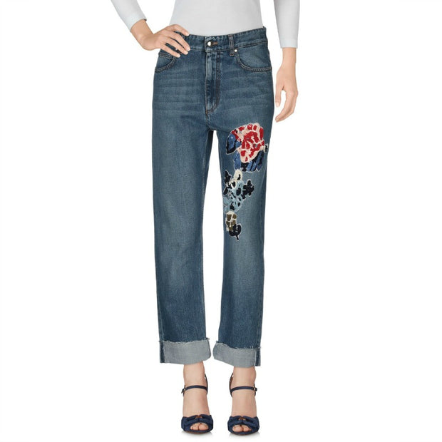Sonia Rykiel Bleu Vintage Sequin Embellished Cuffed Jeans Pants