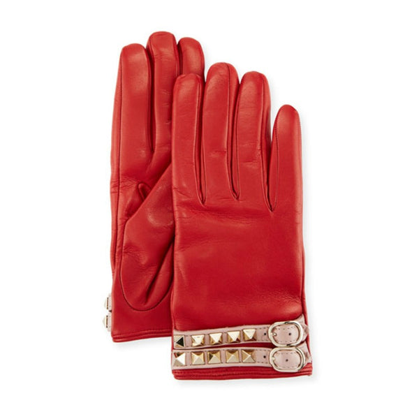 Valentino Red Leather Rockstud Gloves