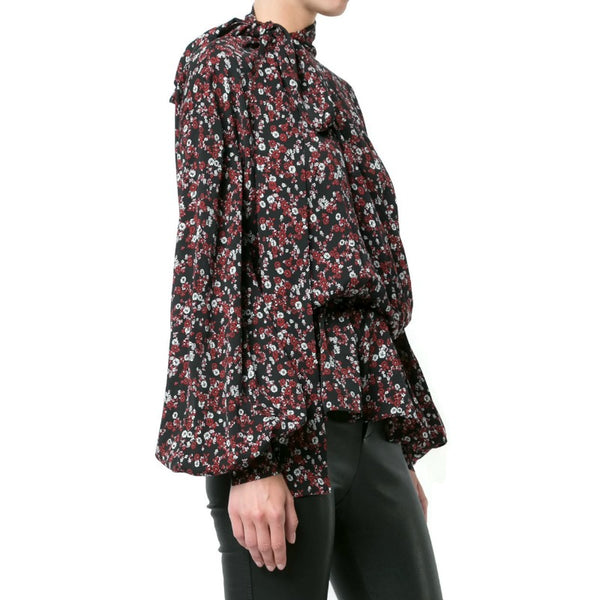 Magda Butrym Black Red Floral Pussy Bow Blouse
