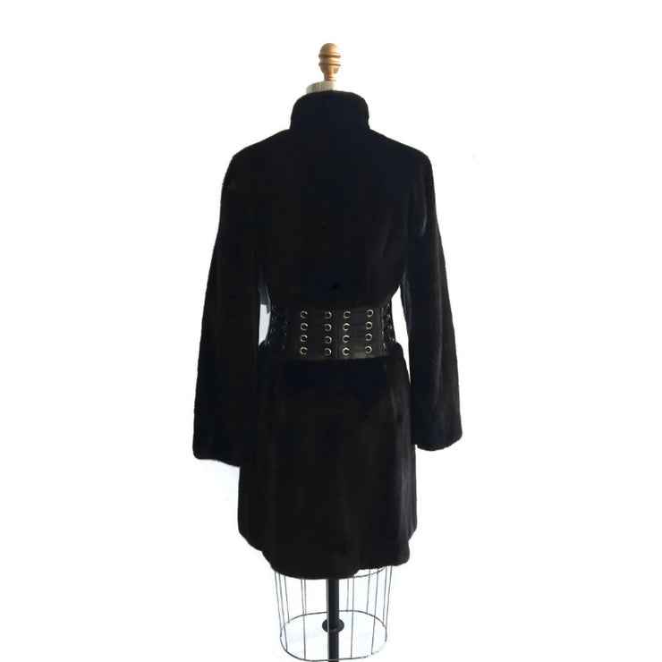 Michael Kors Dark Brown Mink Coat With Leather Detail