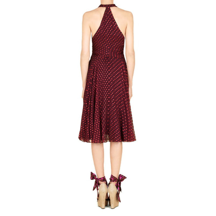 Gucci Oxblood Silk Chiffon Polka Dot Halter Cocktail Dress