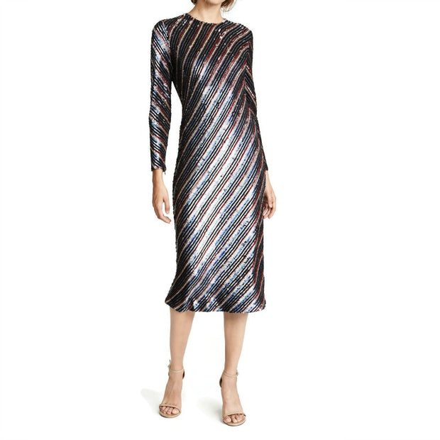 Ashish Graphite Tinsel Sequin Bias Night Out Dress