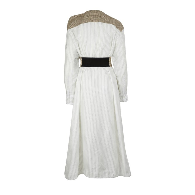 Nina Ricci White and Tan Stretch Technical Tartan Dress