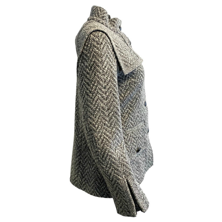 Chanel Grey / Black Wool Tweed with Epaulettes Jacket