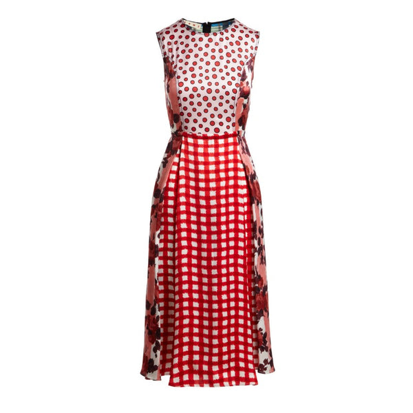 Marni Coral Mixed Print Patchwork Dress
