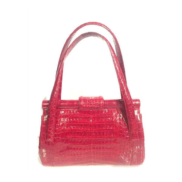 Nancy Gonzalez Red Crocodile Skin Leather Satchel